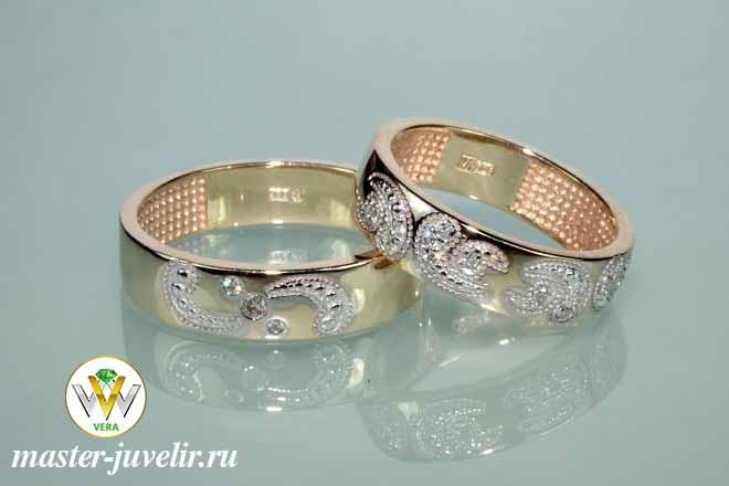 904604d4fea7 Парные обручальные кольца с рисунком из бриллиантов   Ювелирная ...