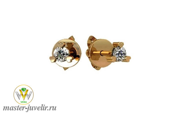 c65a65f2d571 Серьги гвоздики золотые с сердечками и бриллиантом 3 мм заказать или ...