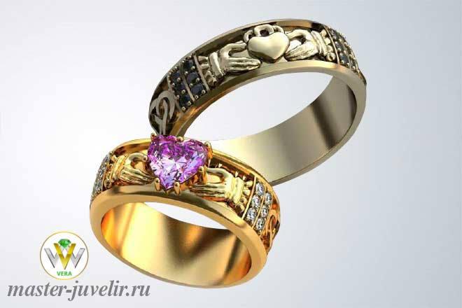 81546c4bc8d3 Кладдахское обручальное кольцо с аметистом сердце, бриллиантами и сапфирами