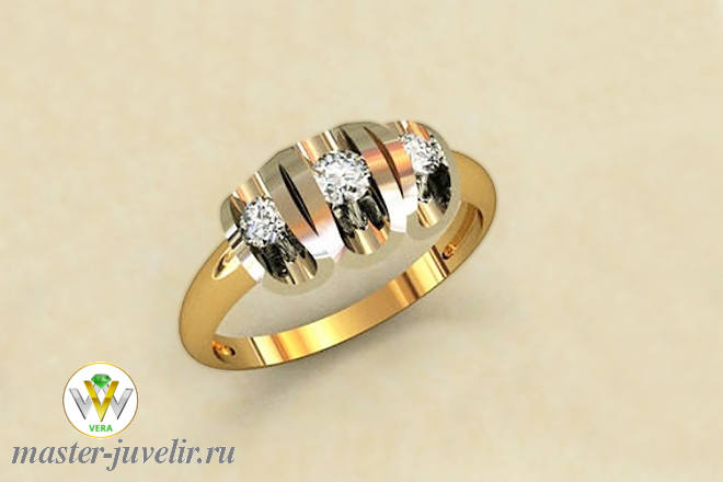 Кольцо из желтого и белого золота 585 пробы с бриллиантами заказать ... f31e01ff541