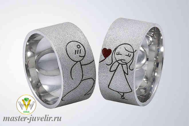 985811fe101b Необычные серебряные обручальные кольца мальчик девочка заказать или ...
