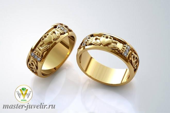 a848dc077a52 Обручальное кольцо кладдахское с сапфирами и бриллиантами заказать ...