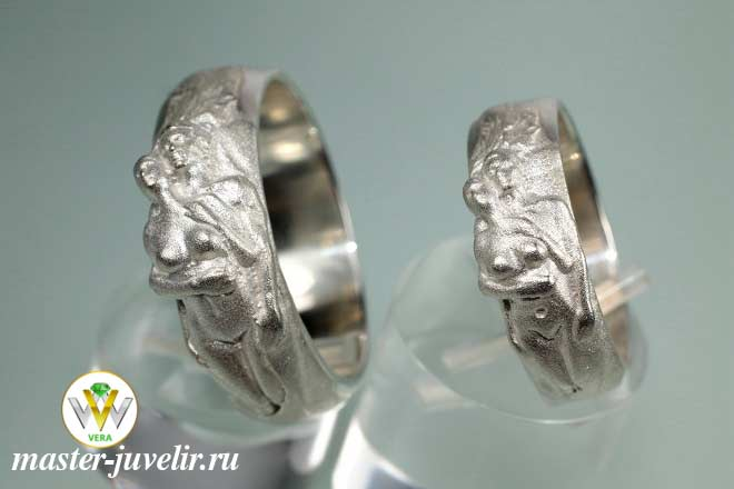 6b3bea472c60 Обручальные кольца Влюбленные, серебряные, матовые Ювелирная ...